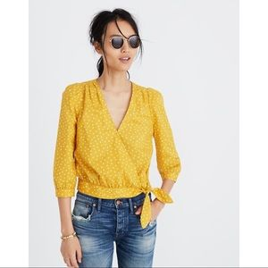 Madewell Yellow Wrap Top in Star Scatter